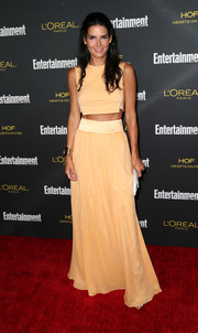 Angie Harmon teamed her top with a matching maxi skirt for a more girly finish.