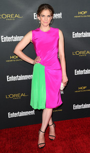Anna Chlumsky brought a fun mix of colors to the red carpet with this fuchsia and neon-green cocktail dress by Christian Siriano during the Entertainment Weekly pre-Emmy party.