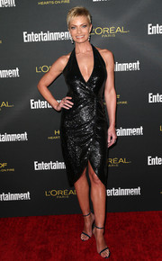 Jaime Pressly was sparkly and sexy in a beaded black halter dress by Halston during the Entertainment Weekly pre-Emmy party.