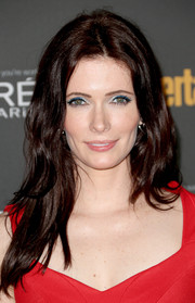 Bitsie Tulloch left her long hair loose with subtle waves when she attended the Entertainment Weekly pre-Emmy party.