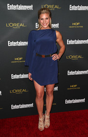 Katee Sackhoff looked hip in an asymmetrical blue mini dress at the Entertainment Weekly pre-Emmy party.