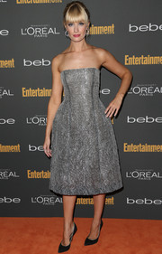 Beth Behrs looked downright divine in a silver strapless dress during the Entertainment Weekly pre-Emmy party.