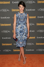 Cobie Smulders chose a blue Valentino print dress for her red carpet look during the Entertainment Weekly pre-Emmy party.