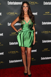 Terri Seymour looked alluring at the Entertainment Weekly pre-Emmy party in an emerald mini dress with a sheer bustline and origami detailing.