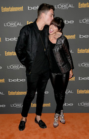 Shenae Grimes teamed embellished sandals with leather skinnies and a textured jacket for a fierce finish at the Entertainment Weekly pre-Emmy party.