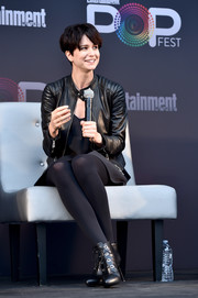 Katherine Waterston was edgy in her all-black leather jacket, dress, and boots combo during Entertainment Weekly's PopFest.
