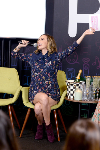 Keltie Knight was laid-back and cute in a printed mini dress with a denim yoke during Entertainment Weekly's PopFest.