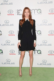 Darby Stanchfield looked youthful and chic at the EMA Awards in a Saint Laurent LBD with a white collar and cuffs.