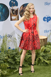 Amanda Seyfried kept her look fun and whimsical with this red-and-black printed frock.