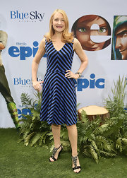 Patricia Clarkson showed off her playful side with this blue-and-black striped frock at the 'Epic' screening in NYC.