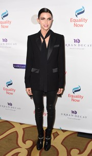Ruby Rose went androgynous in a black tux jacket teamed with a necktie at the Make Equality Reality Gala.