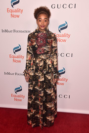 Amandla Stenberg chose a Gucci print gown with an embellished bodice for the Make Equality Reality Gala.