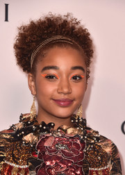 Amandla Stenberg looked darling with her tight curls pulled back with a gold headband at the Make Equality Reality Gala.