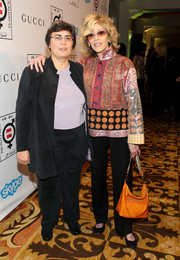 Jane Fonda looked exotic in her mixed-print blouse at the Make Equality Reality event.