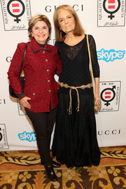 Gloria Allred chose a red tweed jacket and skinny pants for the Make Equality Reality event.