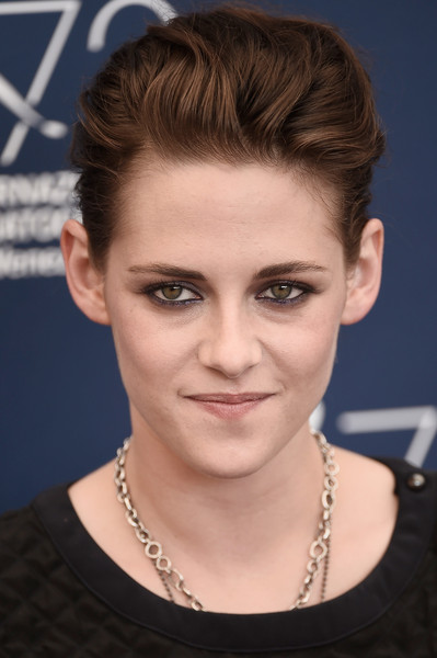Kristen Stewart styled her hair into a pompadour for the Venice Film Festival photocall for 'Equals.'