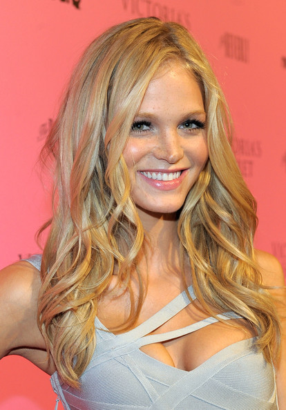 Erin Heatherton Long Curls [victorias secret bombshells celebrate the reveal of the what is sexy,the reveal,what is sexy,hair,blond,face,hairstyle,beauty,long hair,layered hair,hair coloring,chin,eyebrow,erin heatherton,list,the beverly,los angeles,california]