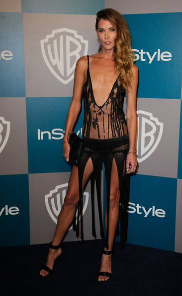 Erin Wasson Strappy Sandals [clothing,fashion model,fashion,leg,thigh,carpet,dress,long hair,model,brown hair,erin wasson,instyle golden globe awards,hotel,beverly hills,california,the beverly hilton,warner bros,arrivals,party]