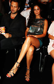 Shermine Shahrivar wore a pair of sexy gladiator sandals to sit front row at the Escada show.