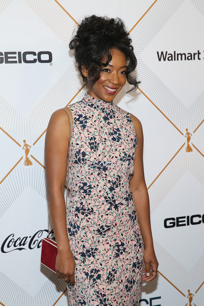 More Pics of Betty Gabriel Print Dress (2 of 4) - Betty Gabriel Lookbook - StyleBistro [clothing,dress,shoulder,cocktail dress,hairstyle,fashion,fashion design,fashion model,red carpet,joint,betty gabriel,arrivals,beverly hills,california,beverly wilshire four seasons hotel,essence 11th annual black women in hollywood awards gala]