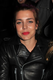 Charlotte Casiraghi added a pop of color with a glossy red pout.