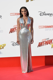 Hannah John-Kamen matched her dress with a pair of silver Jimmy Choo sandals.