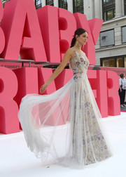Eiza Gonzalez looked divine in a floral-embroidered Marchesa gown with a white overlay at the European premiere of 'Baby Driver.'