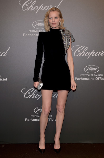 Eva Herzigova Little Black Dress [little black dress,fashion model,dress,cocktail dress,flooring,shoulder,joint,fashion,formal wear,leg,caroline scheufele,eva herzigova,rihanna,chopard space party - photocall,cannes,france,port canto,chopard space party,chopard,cannes film festival]