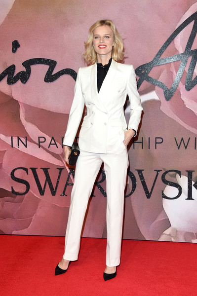Eva Herzigova Pantsuit [fashion model,flooring,carpet,suit,fashion,red carpet,formal wear,leg,product,haute couture,red carpet arrivals,eva herzigova,london,united kingdom,the fashion awards]