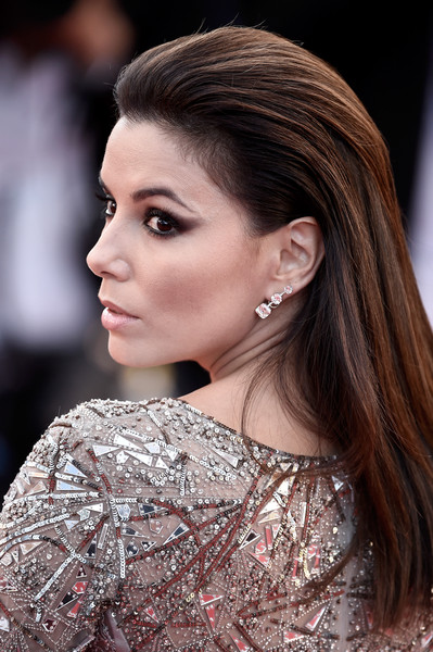 Eva Longoria Dangling Diamond Earrings [hair,hairstyle,face,eyebrow,fashion model,fashion,beauty,lip,chin,skin,cannes,france,inside out premiere - the 68th annual cannes film festival,premiere,cannes film festival,eva longoria]