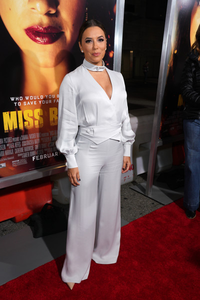 Eva Longoria Wrap Top [miss bala,red carpet,white,clothing,premiere,carpet,suit,flooring,fashion,pantsuit,shoulder,red carpet,eva longoria,columbia pictures miss bala,california,los angeles,regal la live stadium,columbia pictures,premiere,premiere]