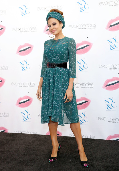 Eva Mendes Evening Pumps [clothing,dress,turquoise,pink,cocktail dress,fashion,footwear,red carpet,carpet,premiere,eva mendes,eva mendes launches her fall collection,sizes,collection,sizes,cerritos,california,los cerritos center,new york company]