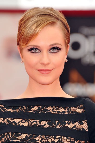 Evan Rachel Wood Short Side Part [mildred pierce,hair,face,eyebrow,hairstyle,blond,lip,beauty,chin,shoulder,skin,evan rachel wood,venice,italy,palazzo del cinema,premiere,venice film festival,68th venice film festival]