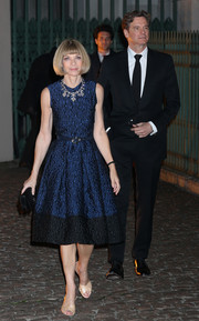 Anna Wintour donned an elegant blue and black cocktail dress for the Global Fund event.