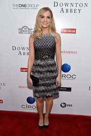 Joanne Froggatt chose a gray patterned dress for the 'Downton Abbey' event in Hollywood.