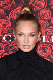 Romee Strijd swept her hair up into a top knot for the Evening Honoring Carolina Herrera event.