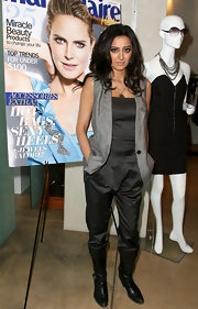 Noureen DeWulf looked fearlessly stylish wearing a silk jumpsuit.