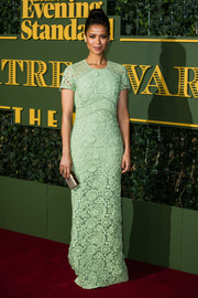 Gugu Mbatha-Raw kept it classic and elegant in a mint-green lace column dress by Burberry at the Evening Standard Theatre Awards.