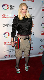 Gwen Stefani was sporty in a black bomber jacket during the Evening with Women benefit.
