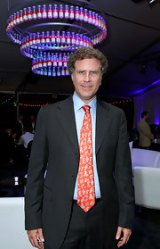 Will Ferrell wore a red and white paisley tie with a pinstriped suit.