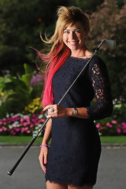 Paula Creamer looked very ladylike in her little black lace dress at the Evian Masters gala dinner.