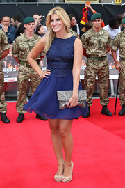Arriving at 'The Expendables 2' premiere in London, Francesca Hull looked ever-so-sweet in her royal blue skater-style frock.
