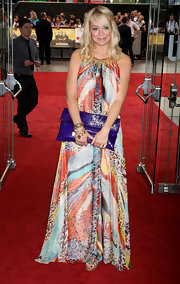 Liz Mcclarnon went for a boho vibe with a colorful maxi dress at the premiere of 'The Expendables.'