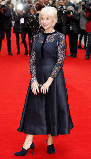Helen Mirren kept it classic in a navy lace blouse by Suzannah at the UK premiere of 'Eye in the Sky.'