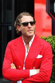 Lapo Elkann watched the F1 Grand Prix looking retro in his wayfarers.