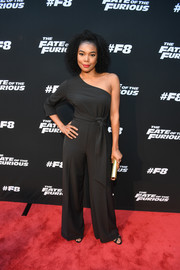 Gabrielle Union was cool and chic in a black one-sleeve jumpsuit by New York & Company at the 'Fate of the Furious' screening.