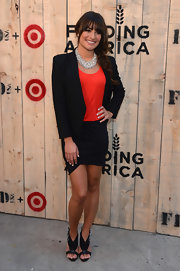 Lea Michele cut a strong silhouette in a structured black blazer at the Feed USA + Target launch.