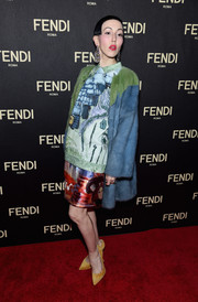 Michelle Harper donned a boxy, painterly-print blouse for the Fendi New York flagship store opening.