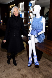 Linda Fargo was winter-chic in a black fit-and-flare wool coat during the Fendi New York flagship store opening.