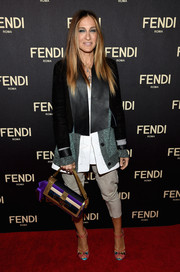 Sarah Jessica Parker paired her jacket with nude capri pants, also by Fendi.